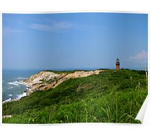 Gay Head cliffs and lighthouse Poster