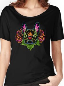 Day of the Dead French Bulldog in Black Sugar Skull Dog Women's Relaxed Fit T-Shirt