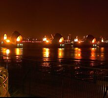The Thames Flood Barrier at night by Terry Senior