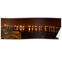 The Thames Flood Barrier at night Poster