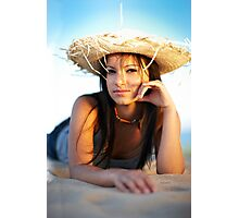 beauty young woman on the beach Photographic Print