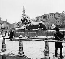 London Trafalgar Square in the Snow by DavidGutierrez