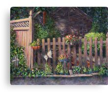 Flowerpots Hanging on a Fence Canvas Print