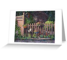 Flowerpots Hanging on a Fence Greeting Card