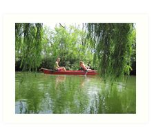 Canoeing on the Oconomowoc River Art Print