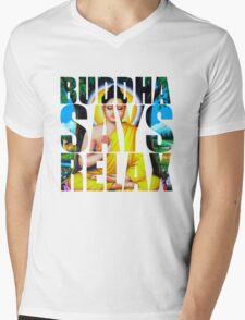 Buddha Says Relax Mens V-Neck T-Shirt