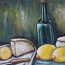 Wine Bottle Still Life- Two by Pamela Plante