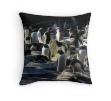Fractal Penguins, Edinburgh Zoo Throw Pillow