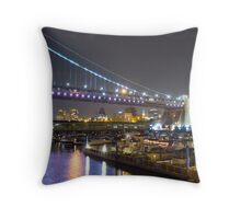 The Philadelphia Marine Center under the Ben Franklin Bridge, Philadelphia, PA Throw Pillow