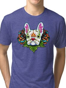 Day of the Dead French Bulldog in White Sugar Skull Dog Tri-blend T-Shirt