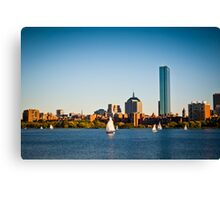 Boston skyline at sunset Canvas Print