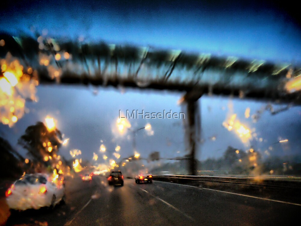 Nightfall, Northern Motorway, Auckland, New Zealand. by Lynne Haselden