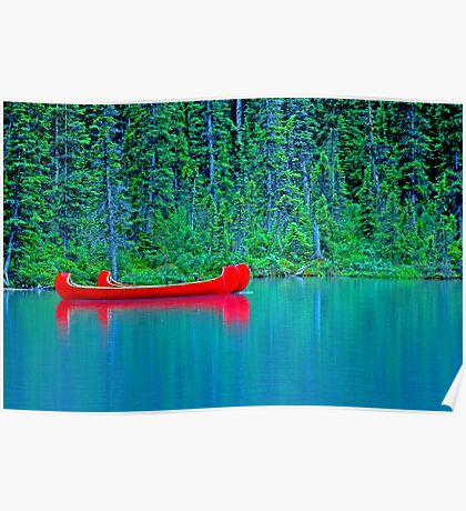 Red Canoes On Green Water Poster