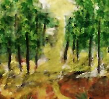 Revised Forest ,now in the light of day, watercolor by Anna  Lewis
