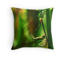 Damselflies Mating Throw Pillow
