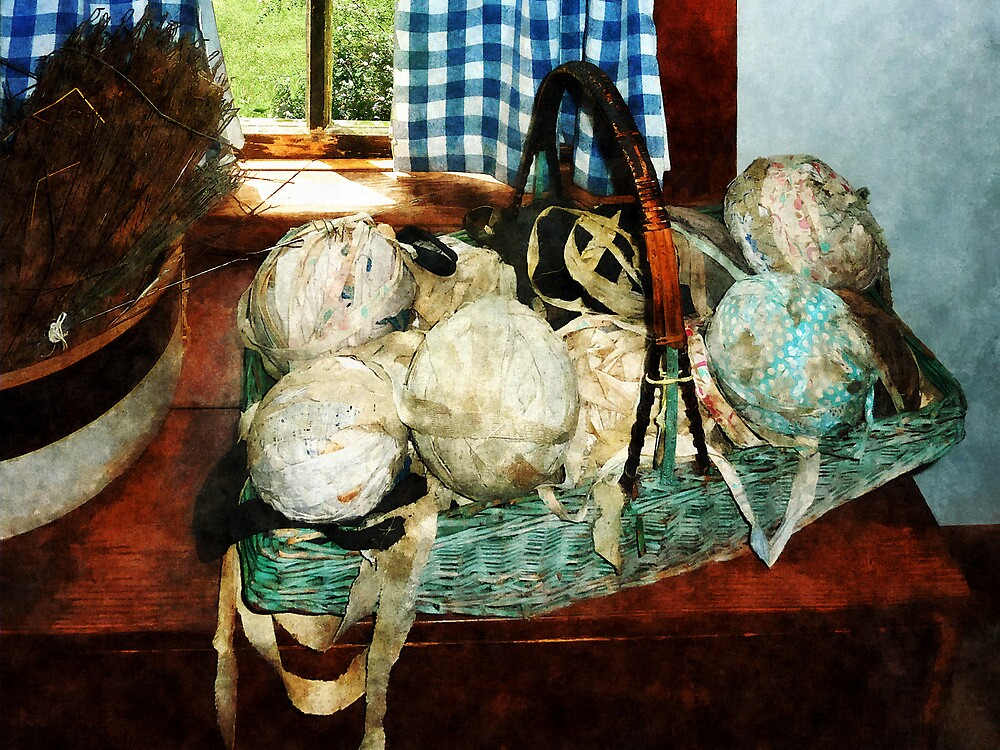 Balls of Cloth Strips in Basket by Susan Savad