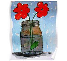 Watercolor Flowers in Mason Jar Poster