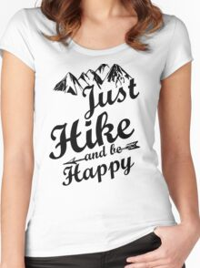 Just Hike and be Happy Women's Fitted Scoop T-Shirt