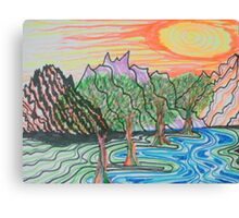 Sunset and the Stream Canvas Print