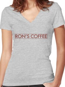 Ron's Coffee Women's Fitted V-Neck T-Shirt