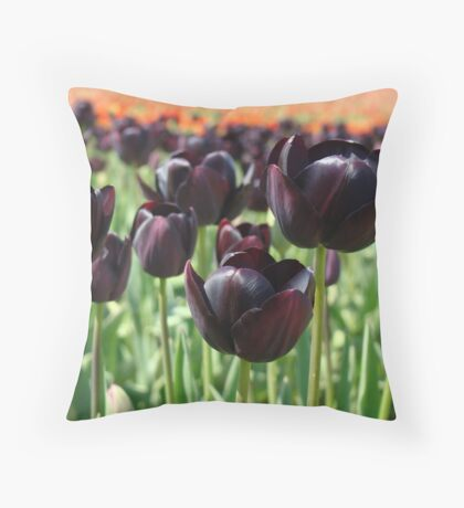 Tulip Festival art print Deep Purple Tulips Meadow Baslee Throw Pillow