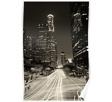 Downtown Los Angeles at Night Brown Poster