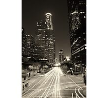 Downtown Los Angeles at Night Brown Photographic Print