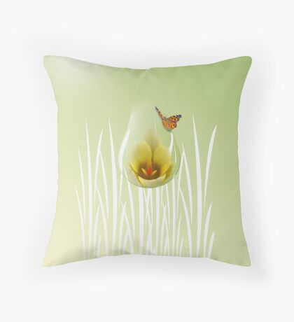 Butterfly with Crocus Throw Pillow