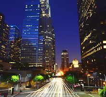 Downtown Los Angeles at Night Blue Sky by Daisy Yeung