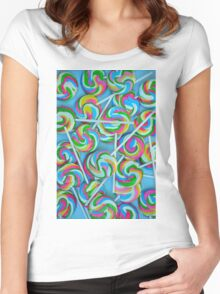 Colorful lollipops pattern Women's Fitted Scoop T-Shirt
