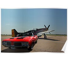 1970 Oldsmobile 442 & P-51 Mustang Poster