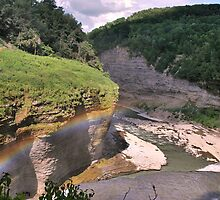 """ Rainbow over the Falls - Letchworth State Park, NY "" by DeucePhotog"