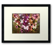 In The Flower Garden are Butterflies and Ground Squirrels  Framed Print