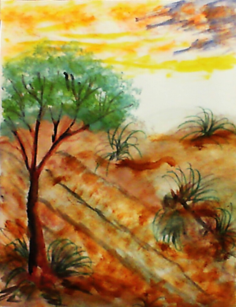 Tree needs rain close to dunes in desert. watercolor by Anna  Lewis, blind artist