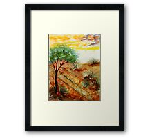 Tree needs rain close to dunes in desert. watercolor Framed Print
