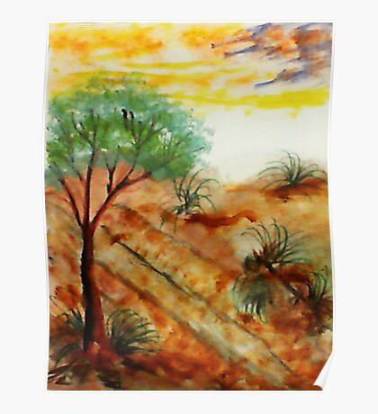 Tree needs rain close to dunes in desert. watercolor Poster