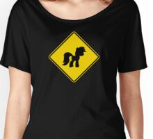 Pony Traffic Sign - Diamond Women's Relaxed Fit T-Shirt