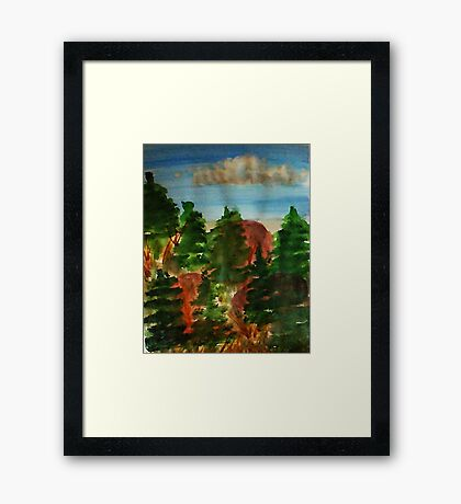 Amongst the pine trees, watercolor Framed Print
