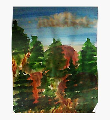 Amongst the pine trees, watercolor Poster