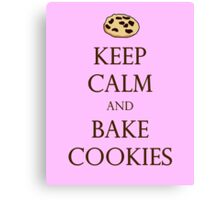 Pink Keep Calm and Bake Cookies Canvas Print