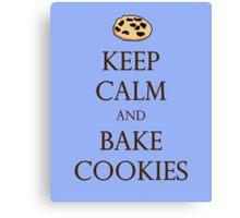 Blue Keep Calm and Bake Cookies Canvas Print