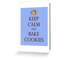 Blue Keep Calm and Bake Cookies Greeting Card