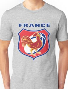 rooster cockerel france rugby shield Unisex T-Shirt