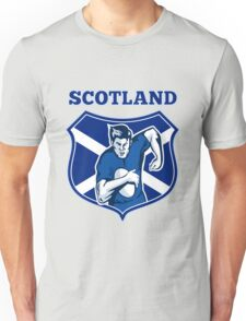 rugby player running with ball Scotland shield Unisex T-Shirt