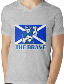 rugby player running with ball Scotland shield Mens V-Neck T-Shirt