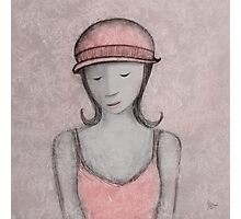 blue girl, pink hat Photographic Print