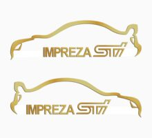 (2) Subaru STI Gold Silhouette Logo Decals by avdesigns