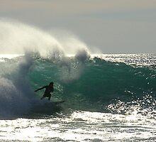 Surfer at Jakes Point Kalbarri, Western Australia by Julia Harwood