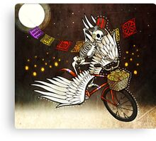 Skeleton on a Bike Canvas Print