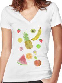 Fruit Fight! Women's Fitted V-Neck T-Shirt